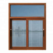 Fenêtre en aluminium au fini grain de bois de haute qualité avec stores à l'intérieur