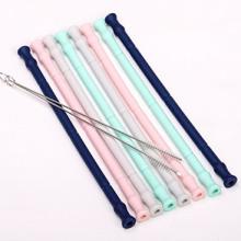 Reusable silicone straws bpa free silicone drinking straws