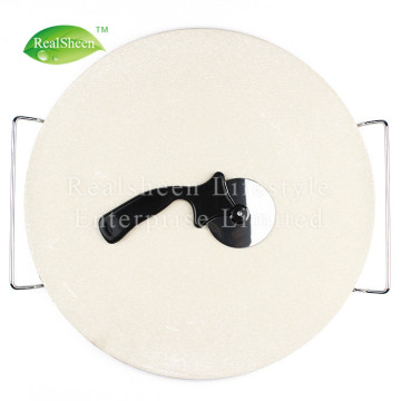 Pizza Stone Pizza Cutter with Chrome Plated Rack