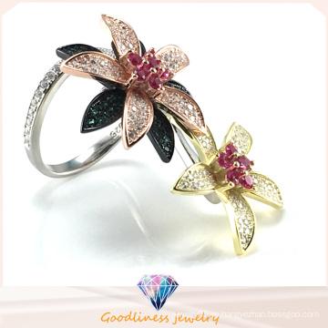Элегантное кольцо с цветочным узором для ювелирных изделий женской моды Два способа ношения кольца ювелирных изделий из кольца для кольца R10503