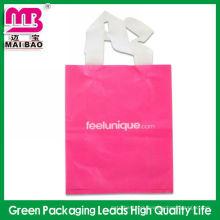 Custom logo printing heat sealed flexible loop handle poly bags for packaging