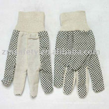 Cotton drill glove with pvc dots