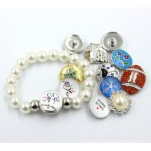 2016 Pearl Crystal Bead DIY Button Bracelet