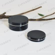 Recipiente de embalagem de cosméticos de alumínio preto brilhante 150g