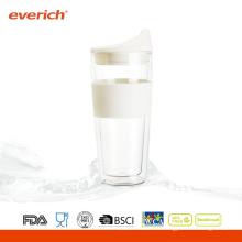 Coupe en verre de café résistant à la chaleur de qualité supérieure de 350 ml avec du silicone