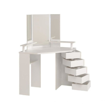 New designs simple white dressing table mirror with drawer