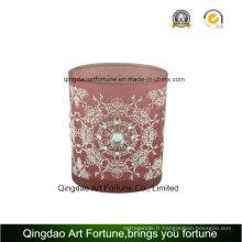 Bougie en verre à la vente chaude avec décoration et motif