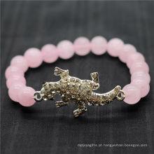Rose Quartz 8MM Round Beads Stretch Gemstone Pulseira com diamante liga de lagarto Piece