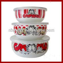 3pcs enamel mixing bowl sets with plastic lid