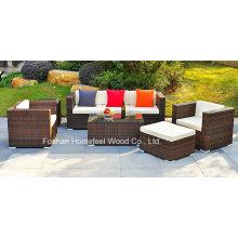 Ensemble de canapé en paille de 6 pièces avec coussins de siège