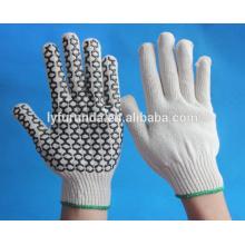 Gants antidérapants, gants en tricot de coton avec des points de pvc sur le côté de la palme