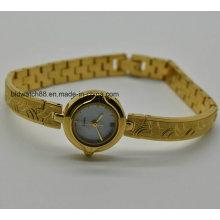 Vogue Relógio de ouro Relógio de pulso de pulso pequeno Relógios Quartzo de bronze
