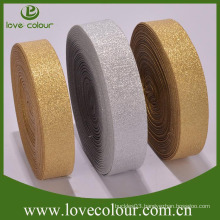 Factory Wholesale Custom Made Elastic Gold Ribbon