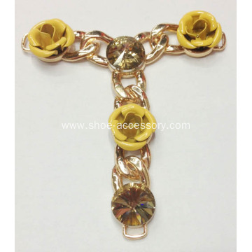 Sandal Chain with Brass Flowers and Caffe Glass Stone