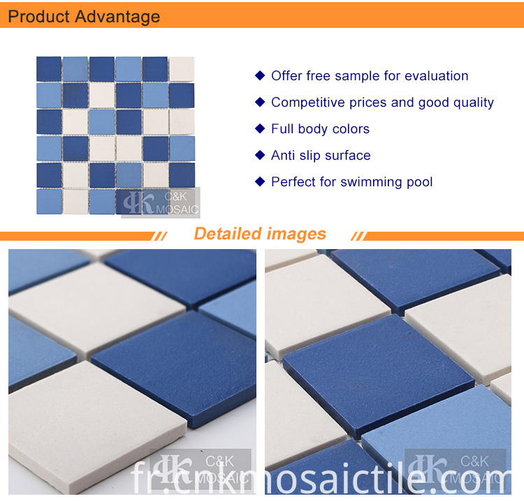 Blue Unglazed Ceramic Mosaic Pool Tiles for Sale