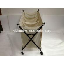 Carro de lavandería con bolsa grande y cesto de ropa
