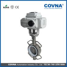 12v электрический клапан воды моторизованный электрический клапан-бабочка с нержавеющей сталью