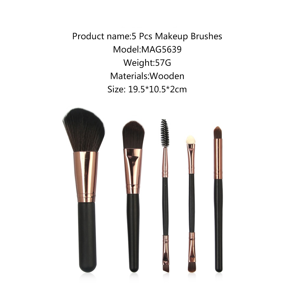 5 Pcs Wood Makeup Brushes Set 2