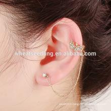 innovative aliexpress dangling alloy design long cuff chain jhumka earring