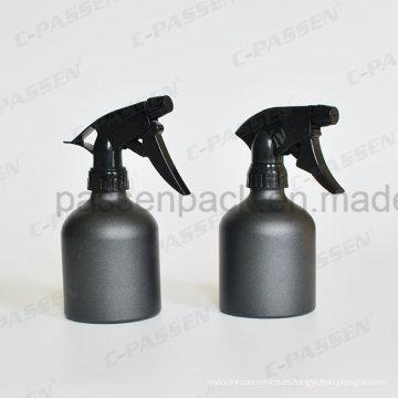 Botella cosmética de aluminio negro mate con bomba de pulverización de gatillo (PPC-ACB-001)