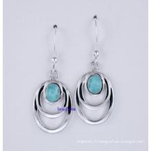 Larimar-bijoux argent boucles d'oreilles (LE00038)