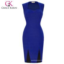 Grace Karin Women Summer Pencil Dress High Stretchy Sleeveless Nylon-Cotton Spandex Blue Retro Vintage Dress CL008945-1