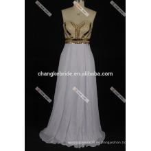 Lovely de dos piezas con cuentas de hombro una línea de satén Prom Dresses 2017