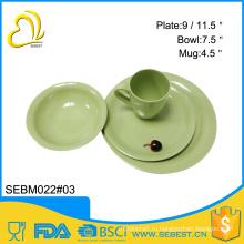 оптовая круглой формы сплошной цвет меламин посуда бамбук