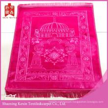 Polyester embossed mink flush fleece prayer mat