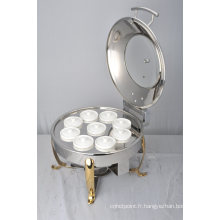 Chafer rond avec cadre de buffet et chauffage