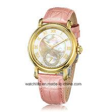 Fashion Diamond Quartz Leather Strap Sapphire Lady Wrist Watch