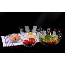 Haonai Kitchen tableware set,Transparent glass bowl,Vegetable and fruit salad bowl