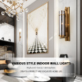 Decorative Hotel Glass Modern Metal Vintage Luxury Bedside Indoor Wall Lamp