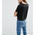 Schwarzer Custome Heißer Verkauf mit Knoten vorne Frauen T-Shirt abgeschnitten