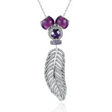 925 Sterling Silver Necklace Feather Shape Purple Zircon Real Silver Women Necklace