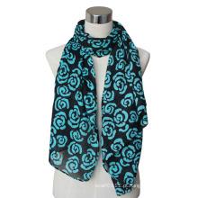 Moda senhora algodão / linho lenço de voile impresso flor (yky4066)
