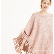 Spring and Autumn New 7GG fringed shawl cloak pure cashmere sweater coat round collar poncho