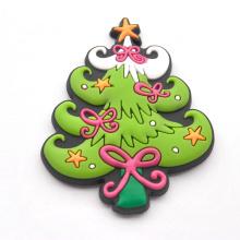 Free sample personalized gift custom logo 3d rubber soft pvc festival reusable santa christmas tree fridge magnet for decoration