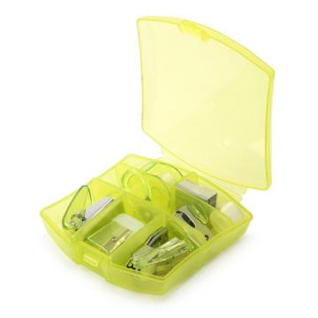 Conjunto de mini papelaria para escritório com caixa de plástico