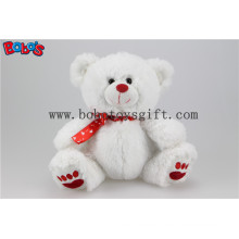 """7.5"""" White Lovely Plush Teddy Bear with Red Heart Printing Ribbon Bos1106"""