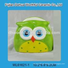 Popular suporte de guardanapo de cerâmica com design de coruja