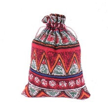 Ethnic style colorful jewelry packaging mosquito repellent printed cotton linen drawstring pocket