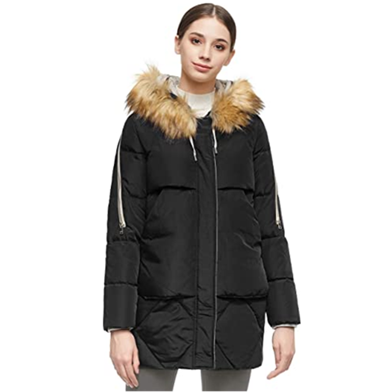 Women S Thickened Mid Length Down Jacket With Removable Fur Hood Large Pockets