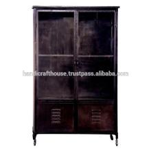 Industrial Metal Negro Vintage con 2 cajones Armario