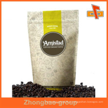 Prova de humidade resealable stand up papel kraft branco personalizado ziplock sacos de café com o seu design