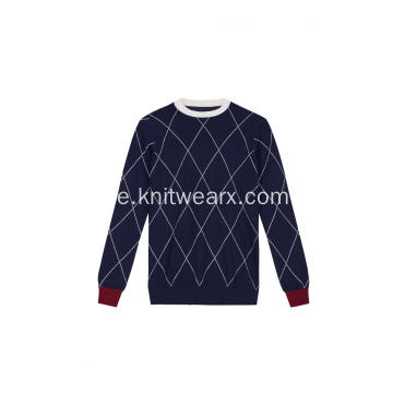 Boy's Knitted Diamond Checks Pullover mit Rundhalsausschnitt