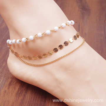Fashion Bohemia Handmade Beaded Sequined Bare Chain Multilayer Anklet