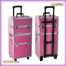 Large Volume Pink Aluminum Makeup Vanity Case for Train (SATCMC019)