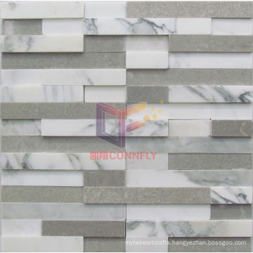 Gery and White Mixed Color Marble Mosaic (CFS1043)