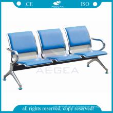 AG-TWC002 precio de la almohadilla azul a prueba de agua de la PU del hospital utilizado sillas de espera de acero inoxidable